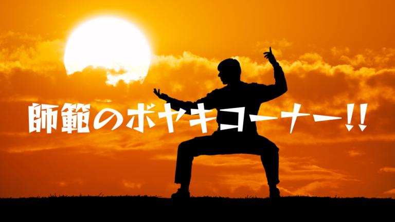 夕陽をバックに武術をしている画像