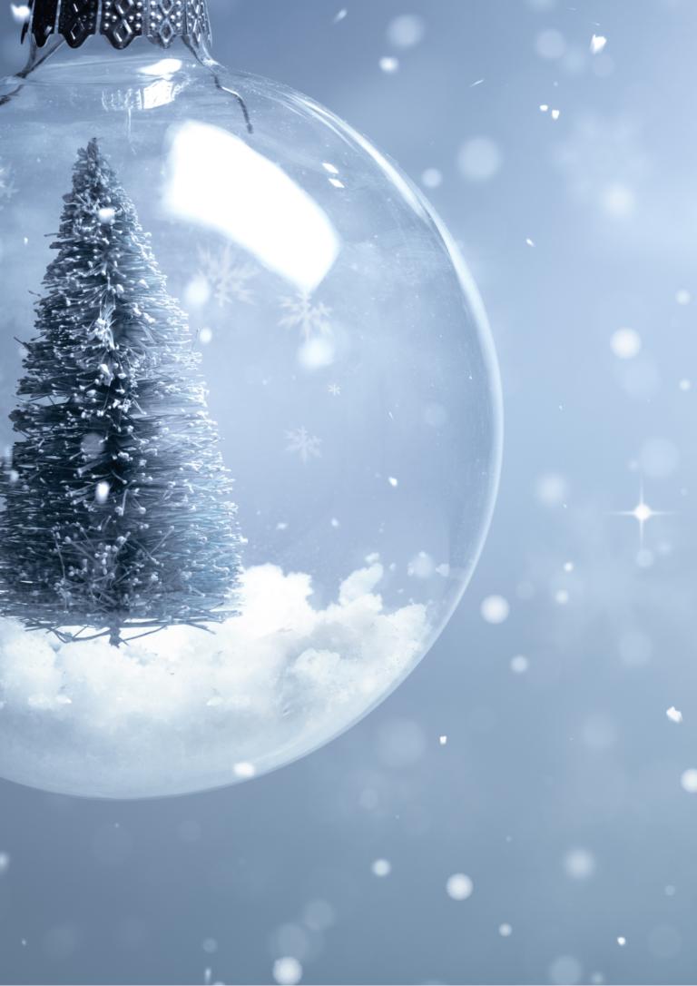 スノーボールに入ったクリスマスツリーの画像