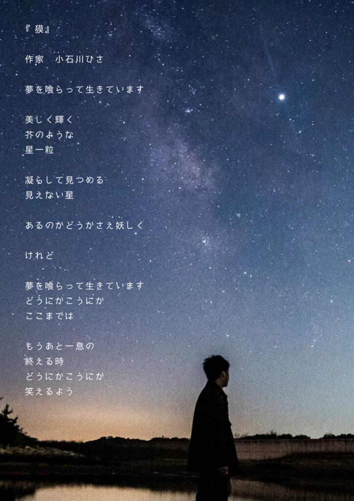 星を見上げる男性の画像
